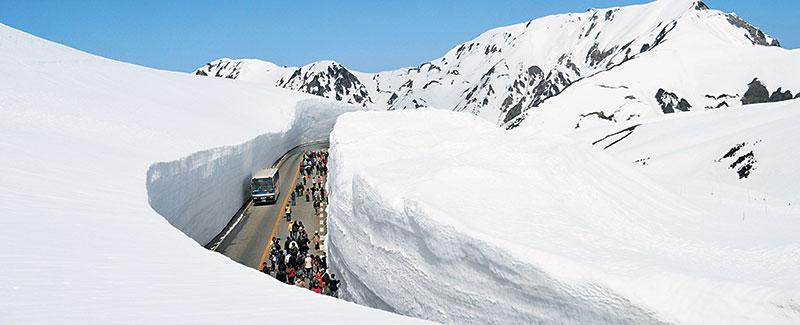 每年春天,铲雪车清除路面积雪,两面雪壁瞬间结成冰墙、让人车道藏身白色夹缝中!