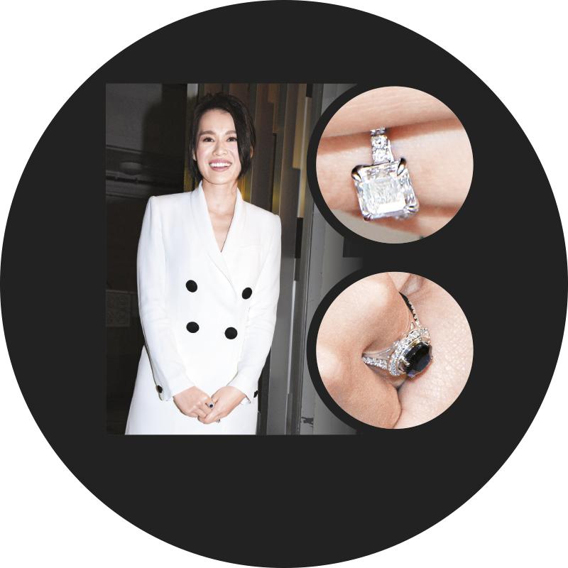 胡杏儿大晒未婚夫送的4卡拉方形求婚钻戒及生日礼物5卡拉蓝宝石戒指。