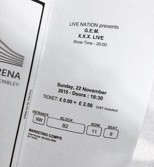 免费送票 有伦敦华人网站在G.E.M.开唱前免费送票,只收回手续费,网民更把成功取到的免费票放上网,不过G.E.M.经理人坚持有人刻意抹黑。