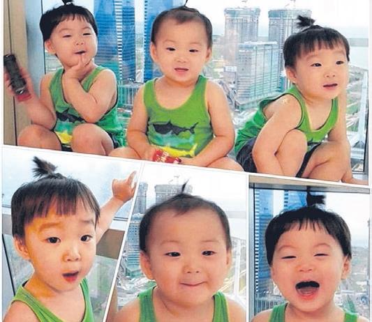 3胞胎穿着相同的绿色背心,样子超萌。(互联网)