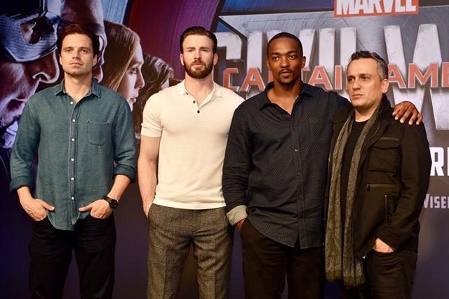 From left: Sebastian Stan, Chris Evans, Anthony Mackie, Joe Russo