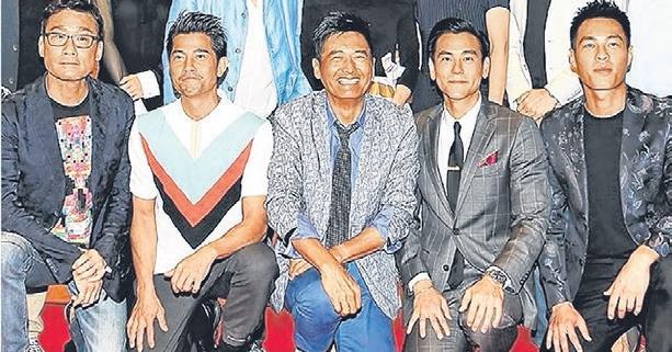 梁家辉(左起)、郭富城、周润发、彭于晏和杨佑宁一起为《寒战2》造势。(互联网)