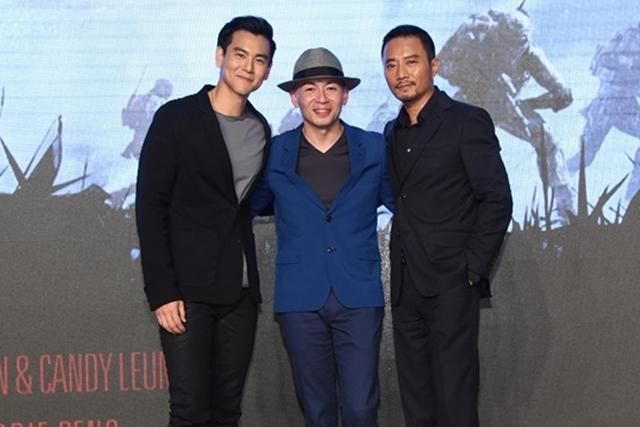 彭于晏(左起)、张涵予和导演林超贤在北京出席电影发布会。(互联网)