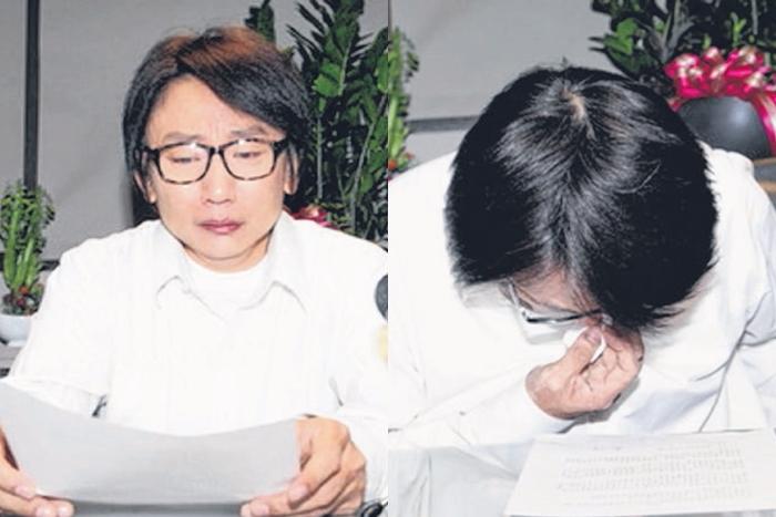 秦伟昨晚开记者会,又是哽咽又是鞠躬。(互联网)