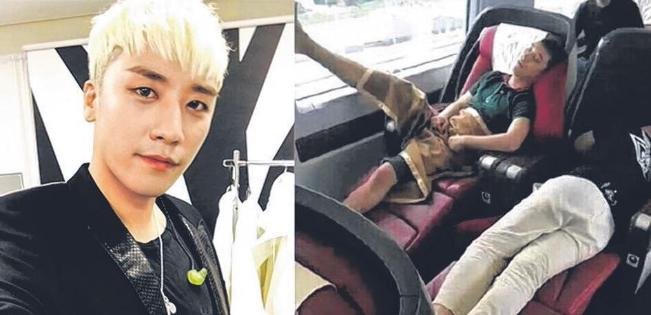 BIGBANG老么胜利乘搭高铁时,脱掉鞋袜抬腿贴在窗户上的不雅睡姿被人拍下上传到微博。(互联网)