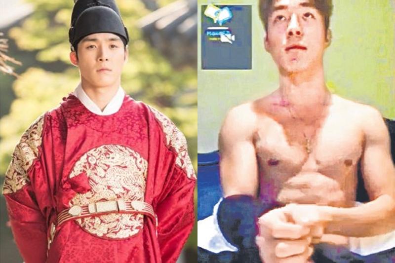 眼尖的网民凭项链和手链,认定徐河俊就是不雅影片男主角。(互联网)