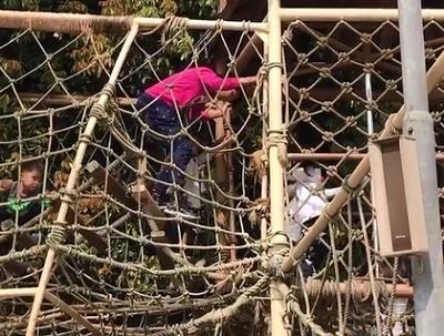 蔡少芬爬到绳网上抢救女儿。