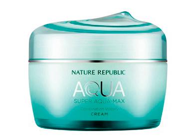 Nature Republic Super AQUA MAX Combination Watery Cream 这款面霜含有矿物质丰富的夏威夷科纳海洋深层水和纯净海洋保湿成分、玻尿酸等,可赋予肌肤水润清凉之感。