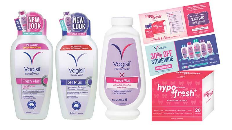 Vagisil Fresh Plus Intimate Wash 240ml($14.90) Vagisil pH Plus Intimate Wash 240ml($15.90) Vagisil Fresh Plus Intimate Powder 100g($9.90) 2 x Hypofresh Intimate Wipes 20s($13.80) Vagisil / Hypofresh电子促销券
